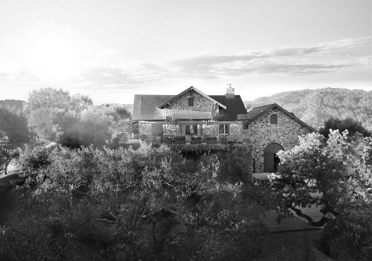 Cardinale winery tasting room on the a hilltop surround with vineyards. Black and White image.